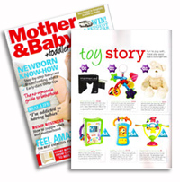 Mother and baby magazine - baby development section featuring mesmerised