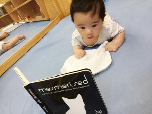 Tummy time with favourite book