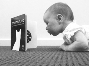 tummy time with propped up book
