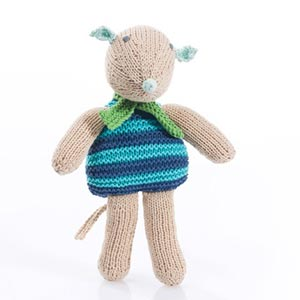 stripey mouse baby toy