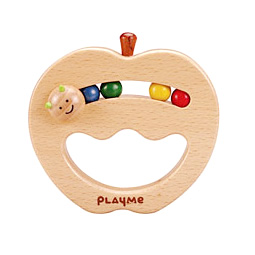 playme wooden apple baby ratlle