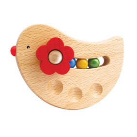 Playme wooden bird baby rattle